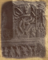 Sculpture of eighteen-armed Shiva in Cave I, Badami, Bijapurm District